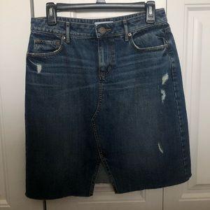 LOFT Distressed Jean Skirt
